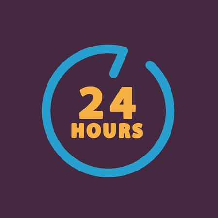 24: 24 hours customer service. Illustration