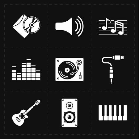 loud speaker: 9 universal flat music icons Illustration