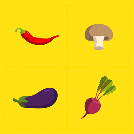 turnip: Colorful Vegetable Icon Set on Bright Background