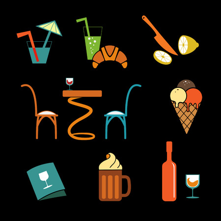 Cafe icons Set  for web Illustration