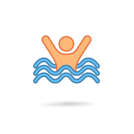 Swimming sign. Sea wave