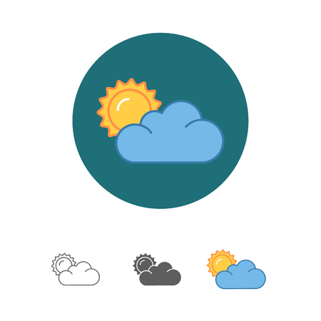 Flat sun and cloud weather web icon