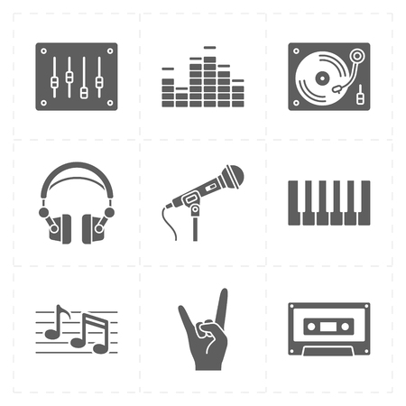 octave: 9 universal flat music icons Illustration