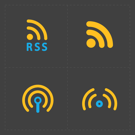 RSS sign icons. RSS feed symbols on Black Background. Illustration