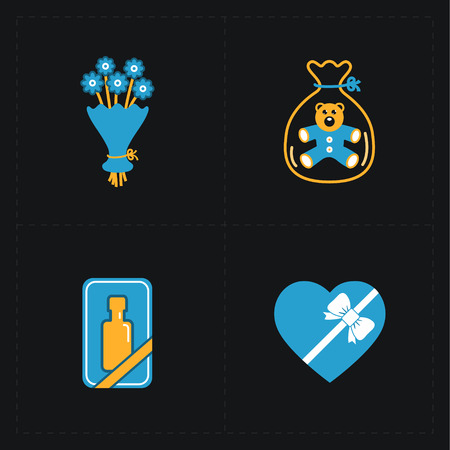 bunch of hearts: Gift flat colorful shop icons on black Illustration