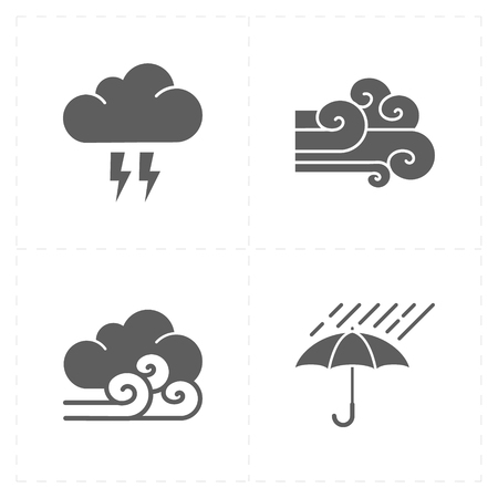 safe water: 4 flat modern weather icons