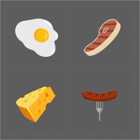 Colorful Fast Food Icon Set on Grey Background Illustration