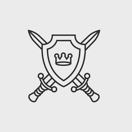 Escudo y espadas Ilustración de vector