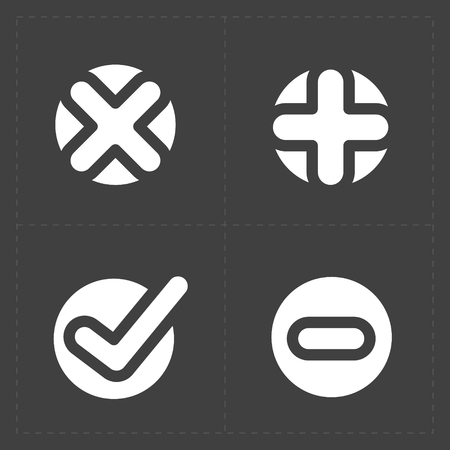 confirm: Vector white confirm icons set