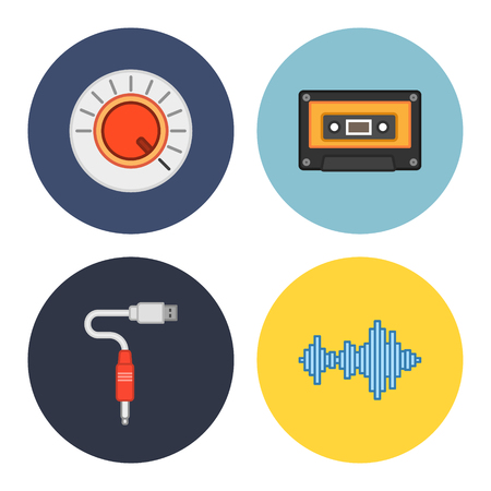 4 universal flat music icons