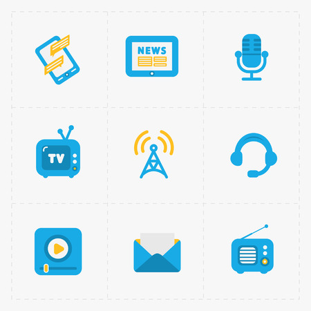 tv tower: Modern colorful flat social icons set on White