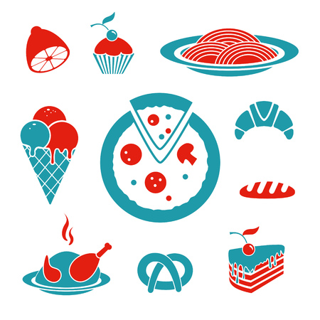 Food vector icons set Illustration