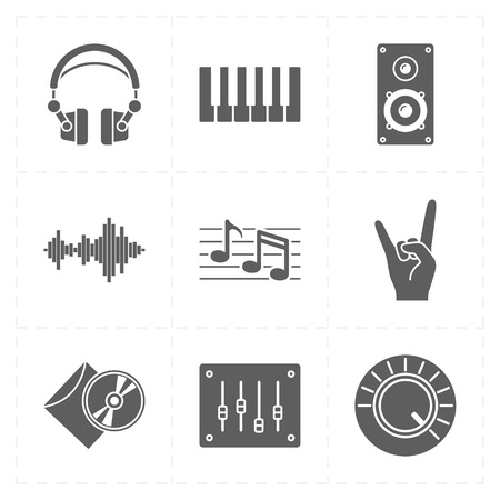 piano roll: 9 universal flat music icons Illustration