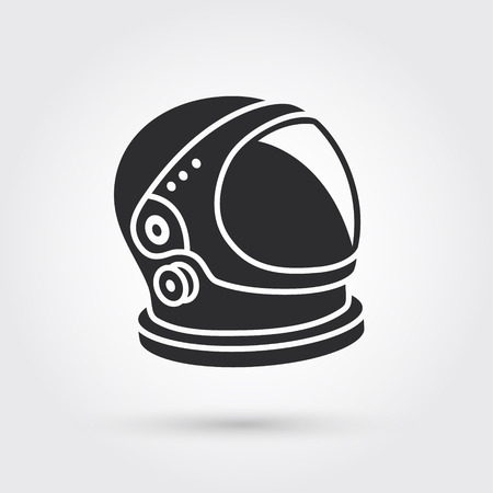 An astronaut helmet with big glass and reflection, isolated illustration.