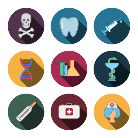 Sets of colorful medicine modern icons.