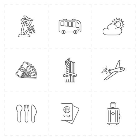 Line illustration of travel company icons.