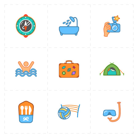 Colorful set of free travel icons.