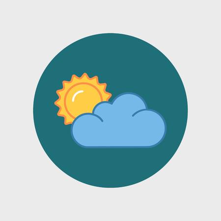 Flat colorful icon of sun and cloud, cartoon illustration. 向量圖像
