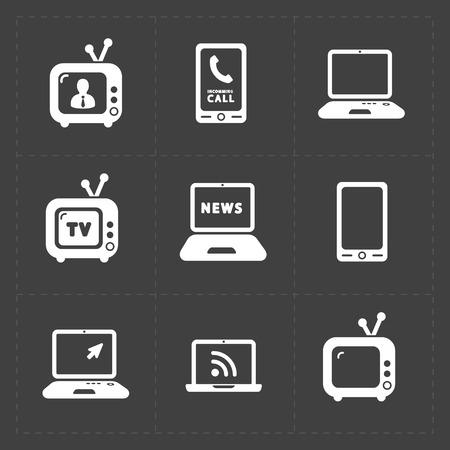 Vector Media Icons set on dark background 向量圖像