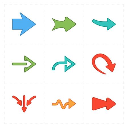 Vlakke moderne pijlen Stock Illustratie