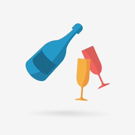 A bottle of champagne and glasses. Illustration