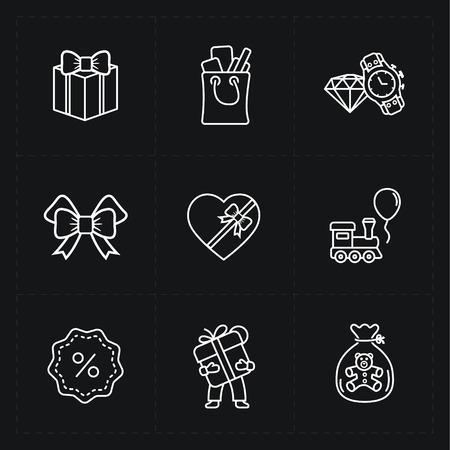 Cadeau-flat contour shop icon set Stock Illustratie