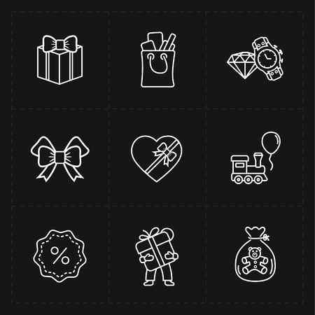 Gift flat contour shop icon set 向量圖像