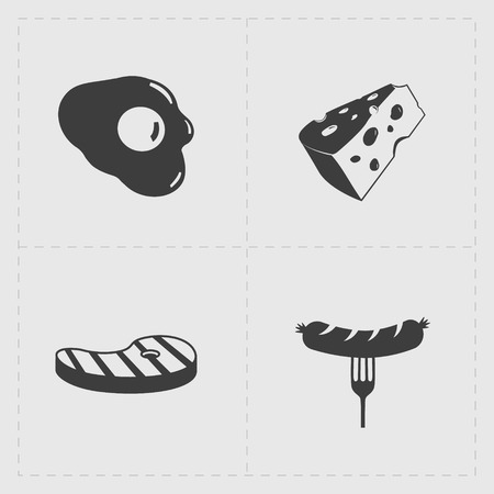 Fast Food Black Icon set on White  イラスト・ベクター素材