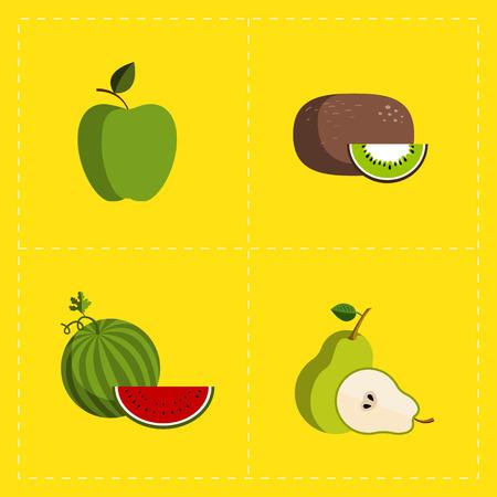 Kleurrijke Fruit Icon Set op heldere achtergrond Stock Illustratie