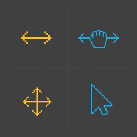 Pixel kleurrijke cursors iconen op zwart.
