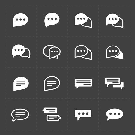 Nieuwe Spraakbellen iconen op zwarte achtergrond. Stock Illustratie