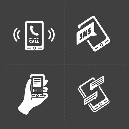 Vector slimme telefoon iconen op Wit Stock Illustratie