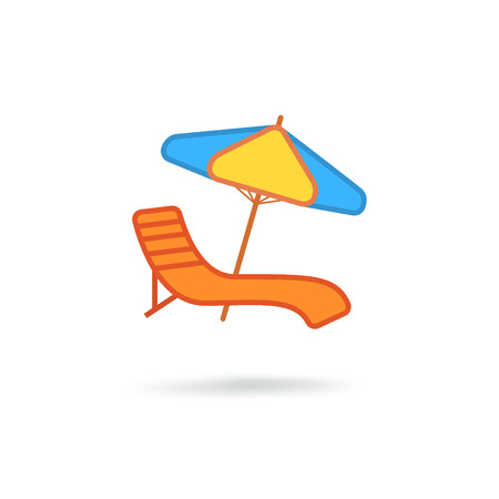 Stoel en strand accessoire Stock Illustratie