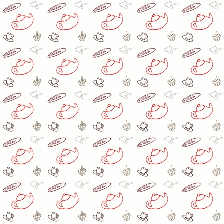 Seamless pattern with tea set Vector