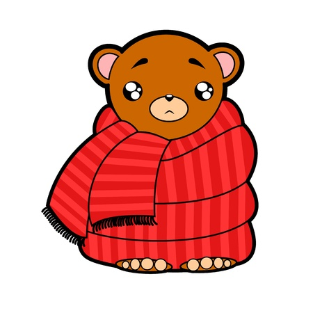 health cartoons: funny cute bear wrapped in a scarf, sick