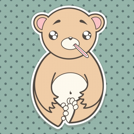 funny sick bear with a thermometer Vector