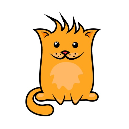 funny cartoon cat in full growth on a white background