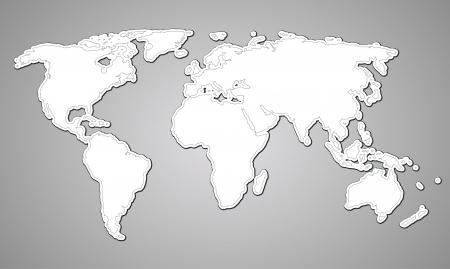 central: contour kaart van de wereld op papier stijl