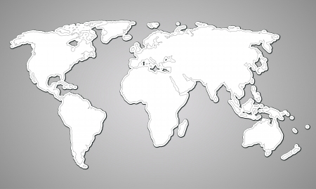 blue world map: contour map of the world on paper style