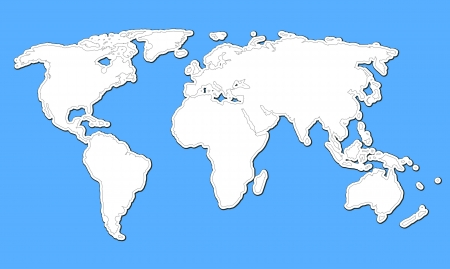 contour map of the world on a blue background