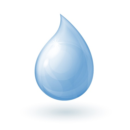 a drop of water in a realistic style on a white background