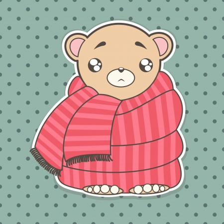 funny cartoon bear is sick wrapped in a scarf Vector
