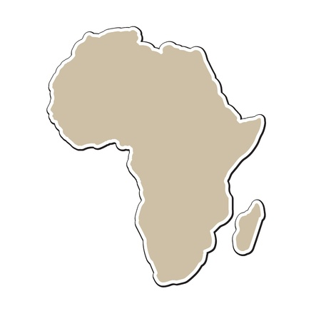 outline map of Africa on paper style