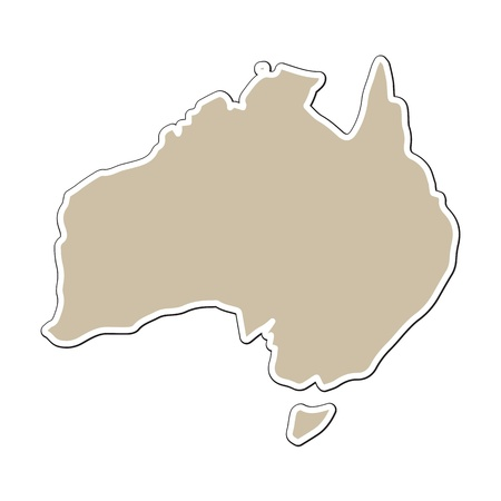 Australia outline map on paper style