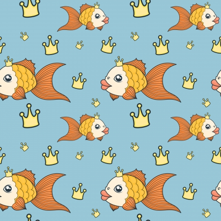 goldfish in a cartoon style with crown
