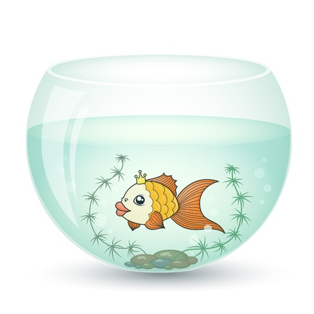 goldfish in a cartoon style in the aquarium and algae Stock Vector - 20840383