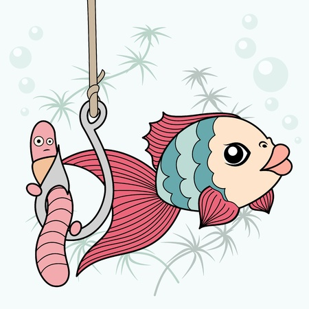 color image fish hook: comics drawn fish preys on worm fishing