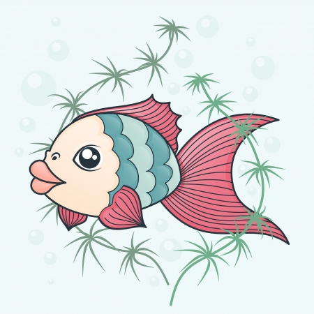 color image fish hook: fish in cartoon style on a background of water and algae Illustration