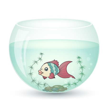 fish in cartoon style in an aquarium with algae Vector