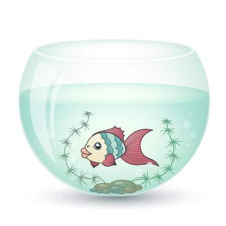 fish in cartoon style in an aquarium with algae